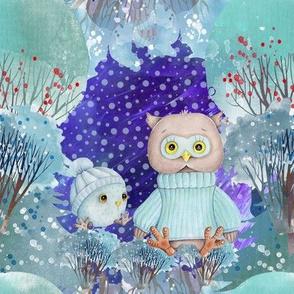 "8"" SNOW DAY DAD AND BABY OWL 1 CHRISTMAS WINTER NIGHT AQUA FLWRHT"