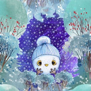 "8"" SNOW DAY BALL OWL 3 CHRISTMAS WINTER NIGHT BLUE FLWRHT"