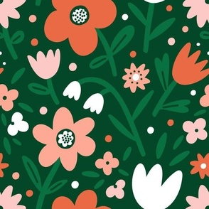 Spring pink flowers on green background