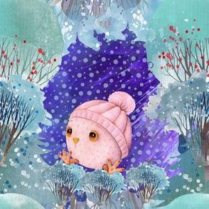 "8""SNOW DAY BABY OWL 2 CHRISTMAS WINTER NIGHT PINK FLWRHT"