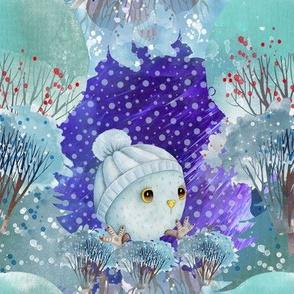 "8"" SNOW DAY BABY OWL 1 CHRISTMAS WINTER NIGHT AQUA FLWRHT"