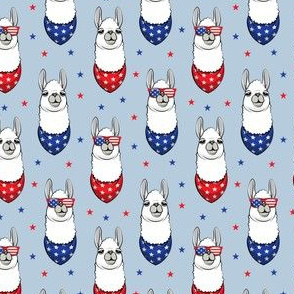 "(1.75"" scale) patriotic llamas on blue 2 with stars C20BS"