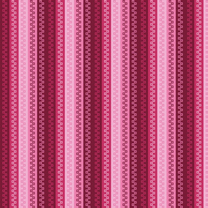 Small - Variegated Zipper Teeth Stripes in Rosy Red and Pink