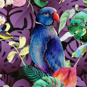 XL LARGE CUSTOM PARAKEET PARROT MONSTERA JUNGLE TROPICAL burgundy purple FLWRHT