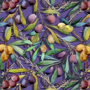 SMALL SCALE PROVENCE OLIVES WATERCOLOR  ULTRAVIOLET 2018 FLWRHT