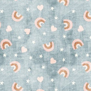 neutral rainbows, stars, hearts - dusty blue  - LAD20