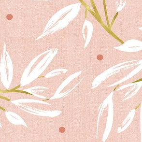 Zen - Gilded Blush Pink Leaves Large Scale