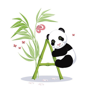Alphabet and Panda. The letter A