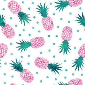 pineapples - summer - pink & teal w/ polka - LAD20