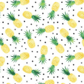 (small scale) pineapples - summer - green & yellow  w/ polka - LAD20