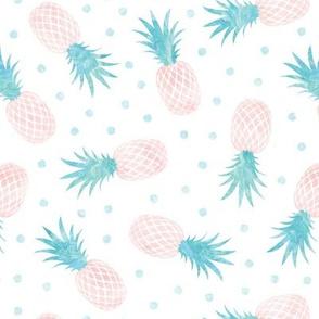 pineapples - summer - blue & pink w/ polka - LAD20