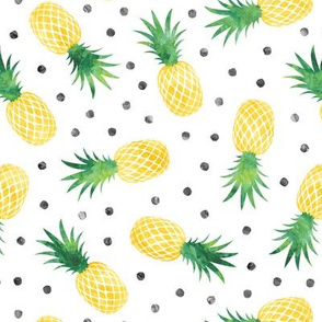 pineapples - summer - green & yellow  w/ polka - LAD20