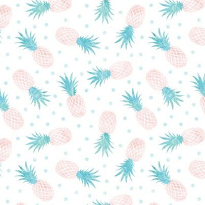 (small scale) pineapples - summer - blue & pink w/ polka - LAD20
