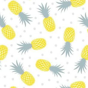 pineapples - summer - blue & yellow w/ polka - LAD20