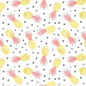 (small scale) pineapples - summer - pink w/ polka - LAD20