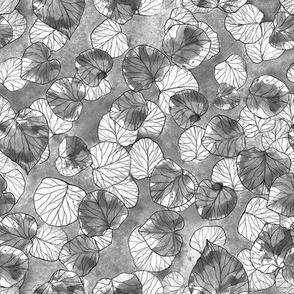 Inkodye round leaves greyscale