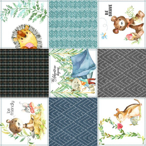 Woodland Adventures Patchwork Quilt Top (blueberry, grays, island blue) Kids Woodland Blanket Fabric, ROTATED design A