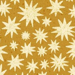 textured stars - mustard