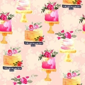 Watercolor Floral Cakes on pink