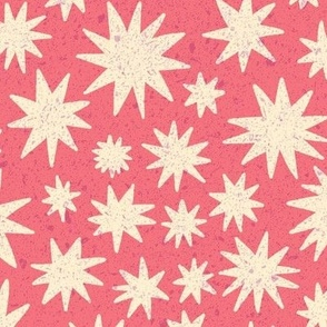 textured stars - coral
