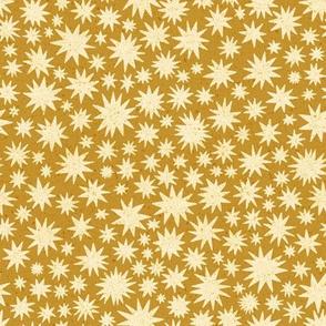 textured stars - small scale - mustard