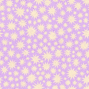 textured stars - small scale - lilac