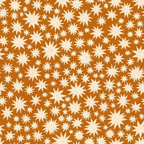 textured stars - small scale - burnt orange