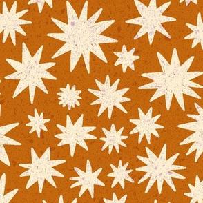 textured stars - burnt orange
