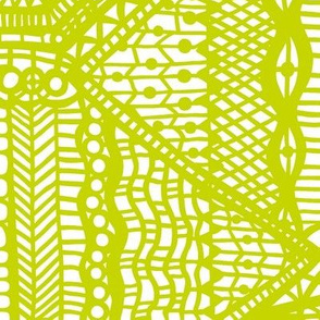 old fashioned lace yellow green on white