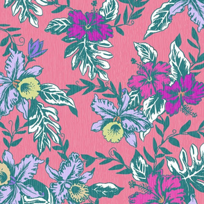 Small Vintage Tropical Orchid-pink