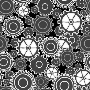 gear collage in black and white
