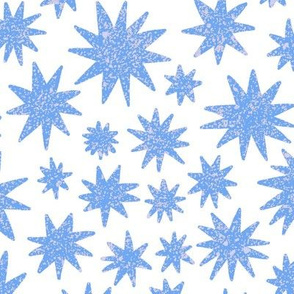 textured stars - periwinkle + white