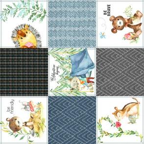 Woodland Adventures Patchwork Quilt Top (blueberry, grays, stonewash, mint) Kids Woodland Blanket Fabric, design C