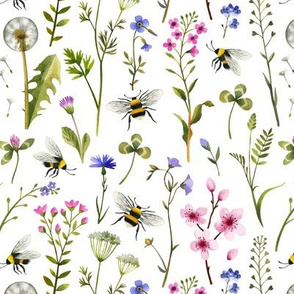 Bees Wildflowers And Cherry Blossom / White / Small Scale