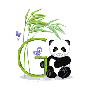 The letter G and Panda, white background