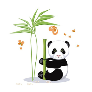 The letter I and Panda, white background