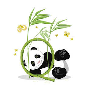 The letter Q and Panda, white background
