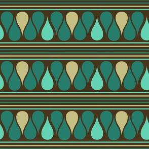 Teal Raindrops and Stripes on Brown