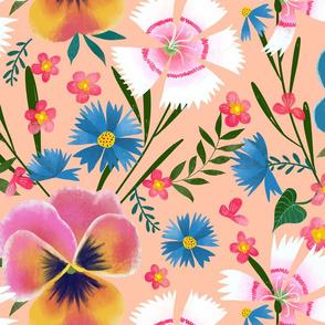 pansy cornflower dianthus garden big