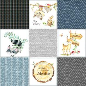 Woodland Adventures Patchwork Quilt Top (blueberry, grays, stonewash) Kids Woodland Blanket Fabric, Deer Fox Hedgehog Moose, design D