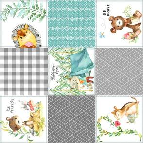 Woodland Adventures Patchwork Quilt Top (lagoon, mint, grays) Kids Woodland Blanket Fabric, Deer Fox Hedgehog Moose, ROTATED design H