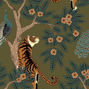 tiger and peacock olive green (large scale)