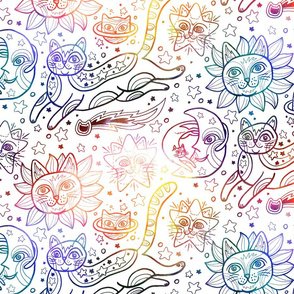 Celestial Cats in White Rainbow