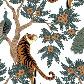 tiger and peacock white (large scale)