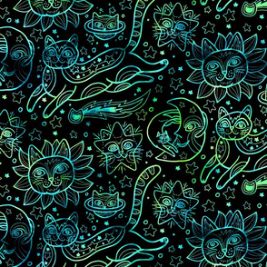 Celestial Cats in Black Green