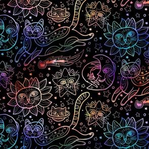Celestial Cats in Black Rainbow
