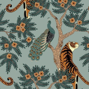 tiger and peacock stone blue (large scale)