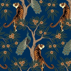 tiger and peacock blue (small scale)
