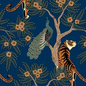 tiger and peacock blue (large scale)