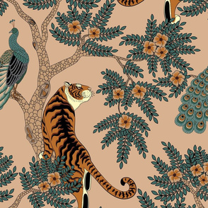 tiger and peacock beige (large scale)